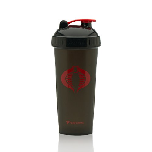 Performa Perfect Shaker - GI JOE Series, Best Leak Free Bottle With Actionrod Mixing Technology For Your Sports & Fitness Needs! Dishwasher and Shatter Proof (Cobra Black)