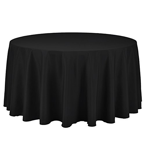VEEYOO Round Tablecloth 100% Polyester Circular Bridal Shower Table Cloth - Solid Soft Dinner Table Cover for Wedding Party Restaurant (Black, 120 inch)