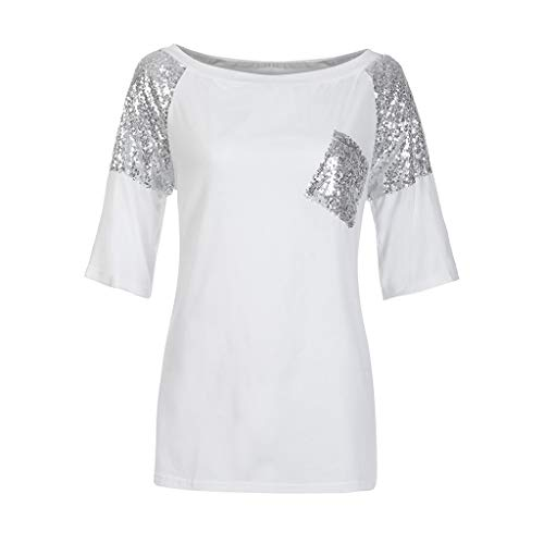 Mujer Top Chic Casual Bolsillos Sexy Camisa Seworld Fuera Blanco Verano De Suelto Con Lentejuelas Parcheada Hombro FAP6wCq