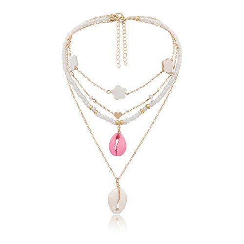 (2019 New Shell Necklace Pearl Series Cowrie Shell Choker Necklace For Women Seashell Strand Bracelets Summer Hawaiian Jewelry (Gold))