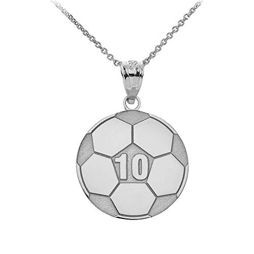 """Sports Charms 925 Sterling Silver Customized Soccer Ball Necklace with Your Name and Number, 16"""""""