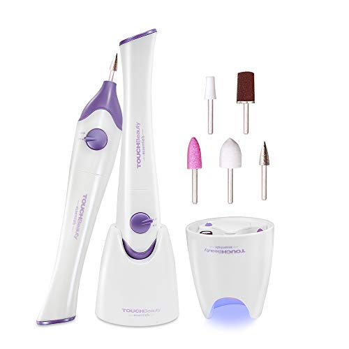 TOUCHBeauty Nail File Manicure/Pedicure Set with UV Light Dryer,Professional Acrylic Nail Tools Nail Drill Buffer Shine Fingernails Toenails Machine with 5 Attachment (Purple) TB-1335 ()