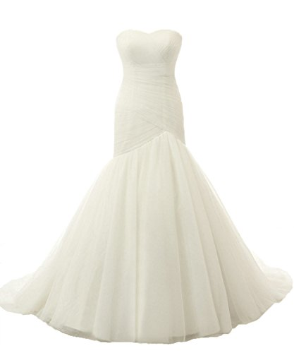 RohmBridal Women's Chapel Train Trumpet Wedding Dress Bridal Gown Ivory Size 30