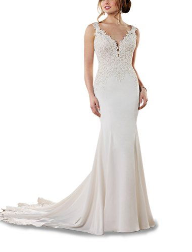 Sheath V-neck Court Train - CJMY Women's Sexy Bride Dress V-Neck Lace Appliques Backless Sweep Train with Appliques Long Beach Wedding Dress Ivory 2