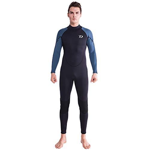 (Dark Lightning Premium CR Neoprene Wetsuit, 2018 Mens Long Sleeves Scuba Diving Thermal Wet Suit in 3/3mm, Full Suit (Men's 3mm - Black/Navy Blue,)