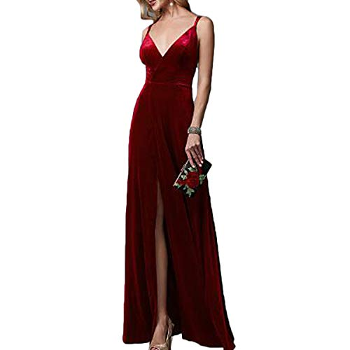 - TTYbridal V-Neck Velvet Prom Dresses Long Evening Party Gown Backless with Split Front 12 Burgundy