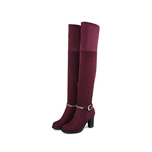 AllhqFashion Womens Round Closed Toe Imitated Suede Zipper Kitten-heels Above-the-knee Boots Claret lfoLD6