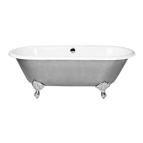 "MAYKKE Rosa 66"" Oval Cast Iron Clawfoot Freestanding Bathtub Vintage, Classic White & Stainless Steel Bath Tub for Bathroom, Shower cUPC Certified, Drain & Overflow Assembly Included NHA1030201"
