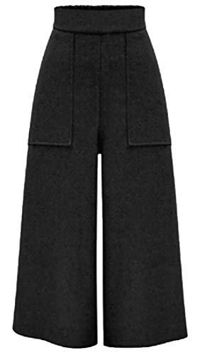 Beloved Women's Vintage Thick Wool Blend Warm Wide Leg Pant Trousers Black L ()