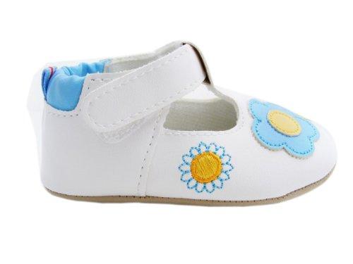Yue Lian Baby Mädchen Schuhe Lauflernschuhe Taufschuhe Sonnnenblume Muster Blau