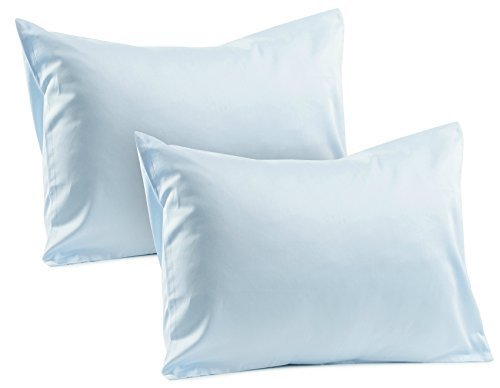 "2 Blue Toddler Pillowcases 100% Cotton Soft Sateen Toddler Pillowcase 400 TC Pillowcase Covers 14""x19"" or 13""x18"" Toddler Baby Travel Pillows Naturally Hypoallergenic Envelope Style Blue Pillow Cases"