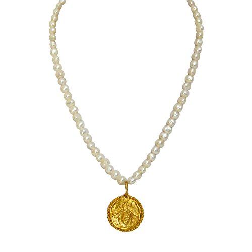 "Susan Shaw 24k Handcast Gold Plated Freshwater-Cultured Pearl Necklace with ""Bee"" Pendant, 16″"