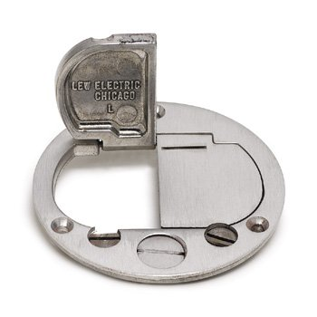 Lew Electric DFB-LR-1/2-A Access Floor Box Flanged Cover, Duplex Receptacle for 612RSS - Aluminum