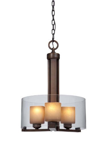 (Artcraft Lighting AC1240 Sierra Transitional 3-Light Chandelier In Distressed Rust With Double Glass Shade by Artcraft Lighting)