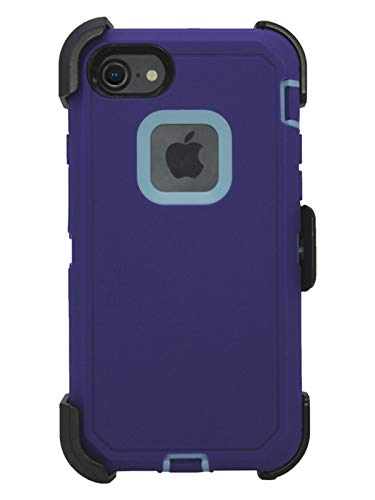 Hand-e Muscle Case for Apple iPhone 8 / iPhone 7, Triple Layer Protection (Defender), Drop Proof, Hands Free Kickstand & Belt Clip - Purple/Blue