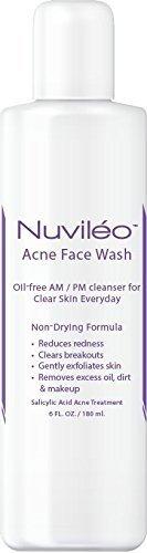 Nuviléo l'acné se laver le visage - traitement de l'acné - 2 % d'acide salicylique, pour l'acné hormonale, effacer taches, cicatrices d'acné, nettoyant visage naturel, intarissable, exempt d'huile, douce formule botanique - 6 oz
