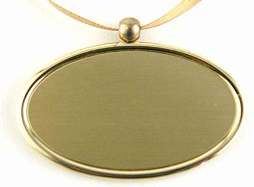 Gold Oval Engravable Pendant - Hanging plate medallion plaque for urns that can't be engraved - Engraving not included - Includes smooth satin ribbon - Made in Brass - Choose Silver or Gold finish