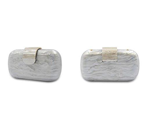 Sac Purse Sac Transparent Et Pearl Acrylic à Black GSHGA Blanc Main à Clutch Women's Evening Clear Noir White Bandoulière xvwqPS4
