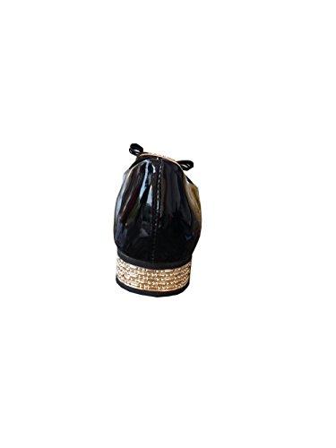 pour Couleur Bow Chaussures Noire ZQB 107 Boucle Couleur Brillant Ballerines Femmes Or 1gqq5S