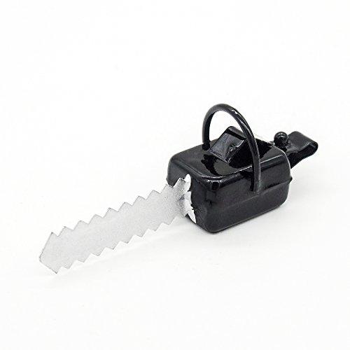 Odoria 1:12 Miniature Black Chainsaw Electric Saw Garden Tools Dollhouse Fairy Garden Accessories