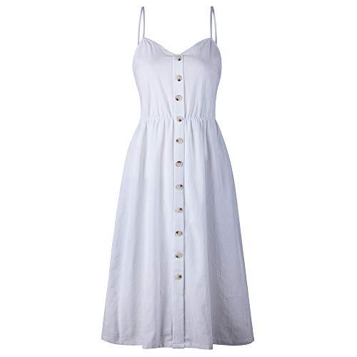 Women's Knee Dresses - Spaghetti Strap Hawaiian Flare Backless Summer Midi Boho Dress Casual White 2XL