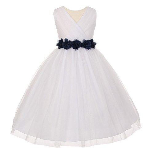 Big Girls White Black Chiffon Flowers Tulle Junior Bridesmaid Dress - Couture Dresses Wedding Allure