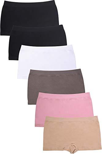 Sofra PATT Ind Women's Seamless Panty Boyshorts Stretch Classy Sexy Multi-6 Pack (Naomi)