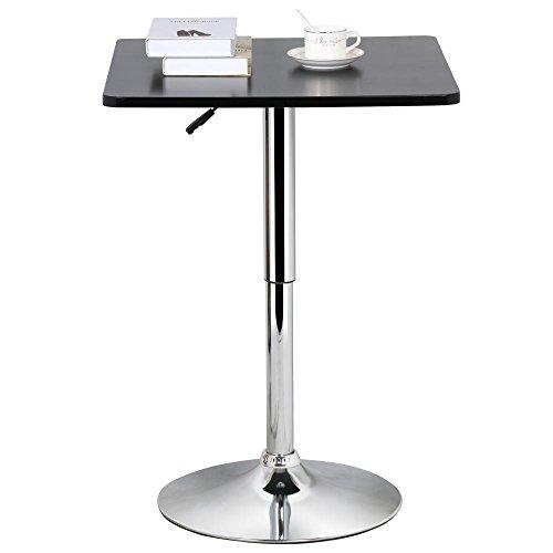 "Rectangular Bar Height Umbrella Table (Eight24hours Adjustable 35"" Black Square Pub Bar Bistro Table Indoor Outdoor Patio)"