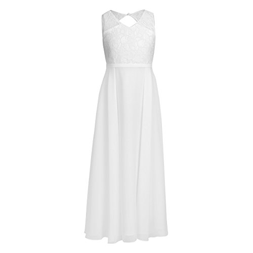FEESHOW Big Girls Floral Lace Dress Junior Bridesmaid Wedding Party Ball Prom Gowns Ivory 10