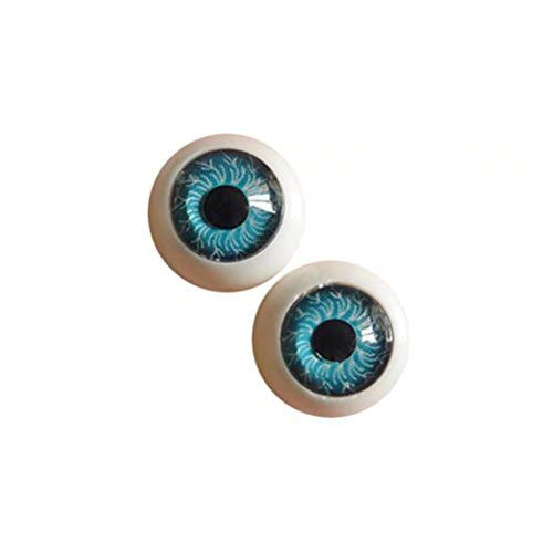 Dengguoli 20 Pairs/Set 12mm Doll Eyeballs, Exquisite and Meticulous Radial Veins in The Eyeballs, Half Round Acrylic Eyes for DIY Dolls Bears Crafts Making (Blue) ()