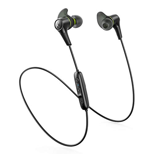 Soundcore Anker Spirit 2 Bluetooth Headphones, Thumping Bass, IP68 Waterproof, Dustproof, Sweatproof, Secure Fit, AirWings, USB C Fast Charge, 14H Playtime, Wireless Earbuds for Gym, Running, Workout