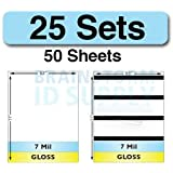 7 Mil Gloss Full Sheet Laminate Sets - 25 Sets (50 Sheets - 25 Plain, 25 with HiCo Magnetic Stripes)
