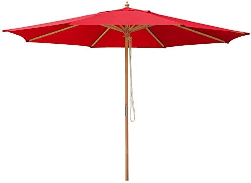 All Weather 13 Foot German Beech Wood Red Color Canopy Backyard Patio Umbrella Outdoor Furniture