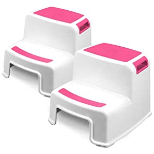 Two Step Kids Step Stools - 2 Pack, Pink - Child, Toddler