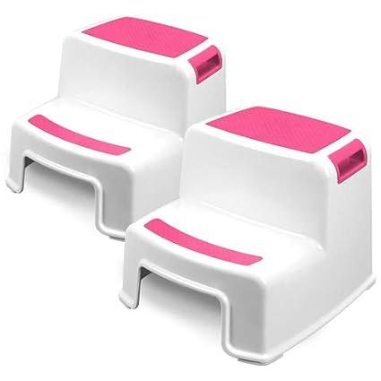 Toddler Safety Steps for Bathroom SobiShop Kitchen and Toilet Potty Training Pink 2 Step Stool for Kids Slip Resistant Soft Grip for Safety