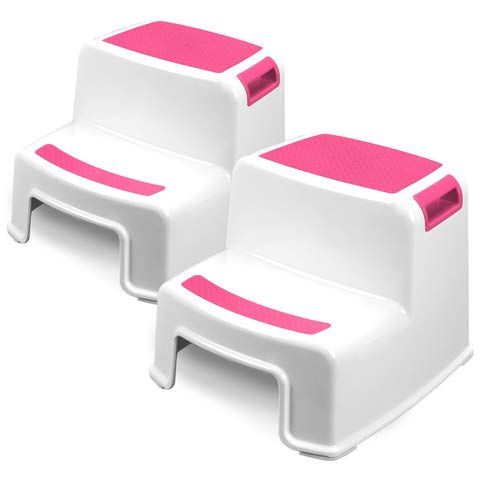 Two Step Kids Step Stools - 2 Pack, Pink - Child, Toddler Safety Steps for Bathroom, Kitchen and Toilet Potty Training - Non Slip Feet, Textured Friction Grip, Carrying Handle, Stackable ()