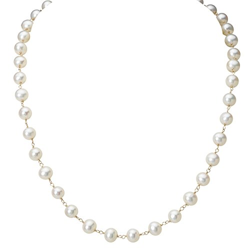 14k Yellow Gold Cultured Freshwater Pearl Necklace- 16 IN (5-5.5mm Pearls)