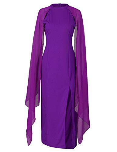 Flowy Side Maxi Women's Long Long Dress Party Split Round Neck Sleeve Dasior Violet Chiffon a0UXZX