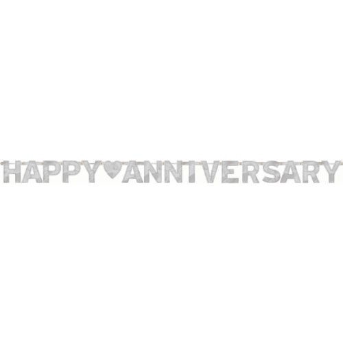 Happy Anniversary Silver - Large Foil Letter Banner -
