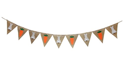 Seasons Treasure 9ft Handmade Easter Decoration Burlap Banner Garland w 9 pcs Soft Felt glittered (Rabbits & Carrot)pennants Banner for Easter Party Decor