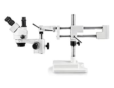 Vision Scientific VS-5F Trinocular Zoom Stereo Microscope, 10x Widefield Eyepiece, 0.7X-4.5X Zoom Range, 7X-45x Magnification Range, Double Arm Boom Stand