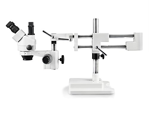 Vision Scientific VS-5F Trinocular Zoom Stereo Microscope, 10x Widefield Eyepiece, 0.7X-4.5X Zoom Range, 7X-45x Magnification Range, Double Arm Boom Stand