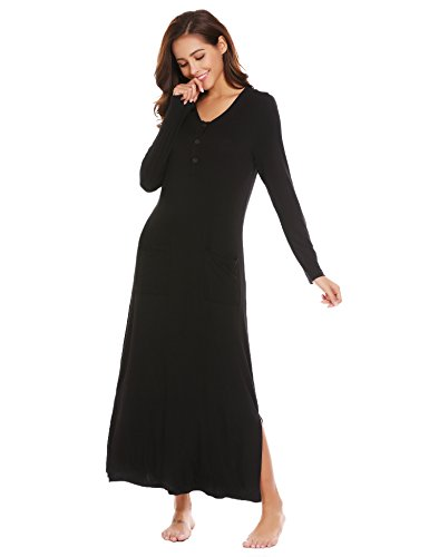 Ekouaer Women's Long Nightgown Cotton Sleepwear Pajama With Button