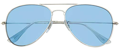 Classic Aviator Style Metal Frame Sunglasses Colored Lens (Silver Frame/Tinted Blue Lens, ()