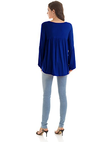 Empire Waist Silk Tunic - H2H Women's V Neck Long Sleeve Ruched Front T Shirt Blouse Top Royalblue US L/Asia L (CWTTL0182)