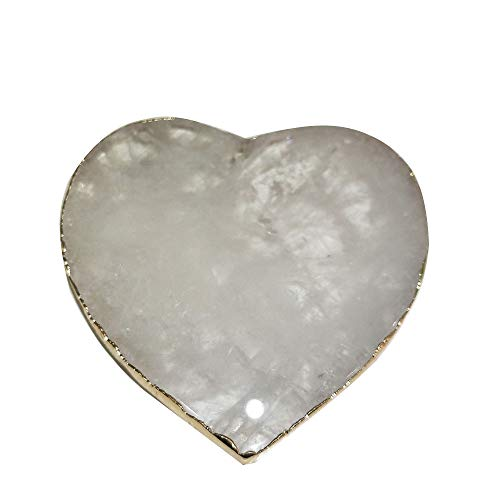 (Natural Rose Quartz Agate Tiger's-Eye Coaster Heart Round Square Crystal Platter Electroplated Gold Color Jewelry for Cup Mat Display (White Crystal Heart))