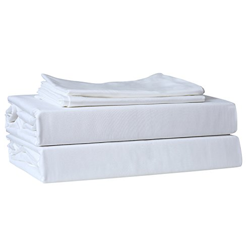 Just Linen 220 Thread Count 100% Cotton Sateen, Solid White, Queen Bedding Sheet Set with Deep Pocketed Fitted Sheets (220 Sheet Tc)