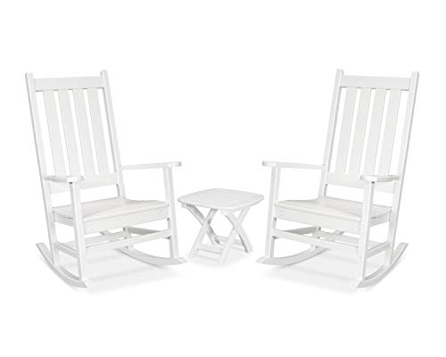 Trex Outdoor Furniture Cape Cod Rocking Chair Set, Classic White (Trex Chairs Rocking)