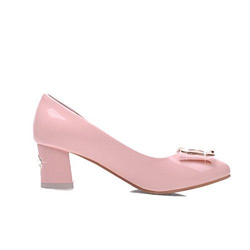 VogueZone009 Damen Mittler Absatz Rein Ziehen auf Lackleder Rund Zehe Pumps Schuhe, Pink, 35