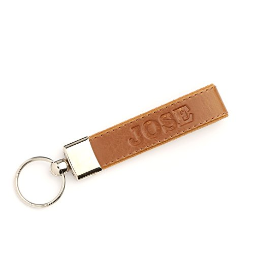 Otto Leather Personalized Keychains   Custom Leather Key Chains  Engraved Elegant Keyrings With Sturdy Rings For Keys   Jose    Light Brown